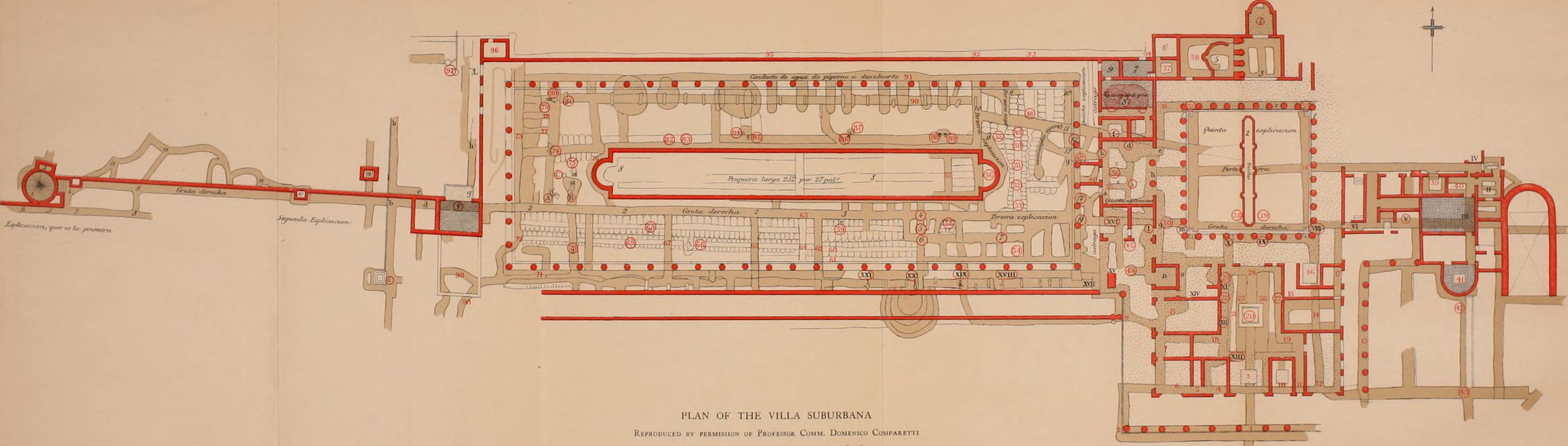 Ground plan of the Villa of the Papyri, Herculaneum, the largest surviving library from antiquity, our only direct source for the works of Chrysippus