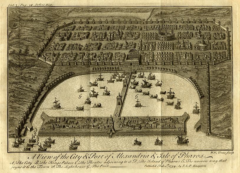 A fanciful eighteenth-century map of Alexandria. The Jewish quarter was on the left of the picture.