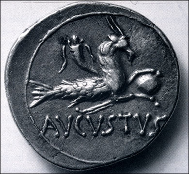 Denarius of the emperor Augustus, showing Capricorn holding the earth in his hooves, with a horn-of-plenty.