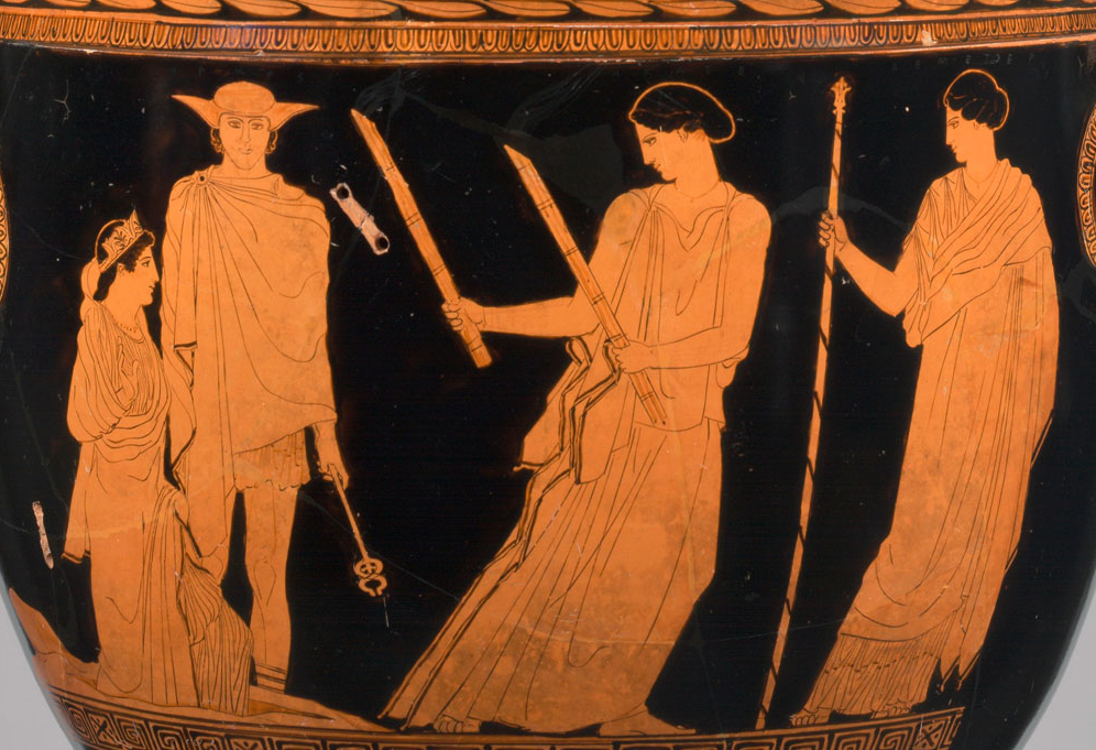 Attic red-figure vase, c. 440 BCE, showing Persephone (left), escorted by Hermes, being led by Hekatē (with the torches, looking back over her shoulder) to her waiting mother Demeter (right). Metropolitan Museum of Art, New York.
