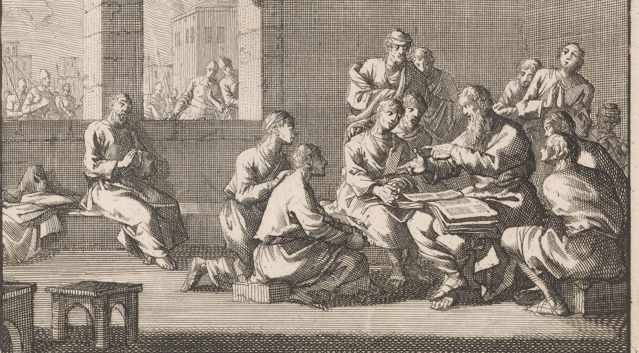 Origen Teaching Theological Students, detail, Jan Luyken, c. 1700 (courtesy of wikimedia commons)