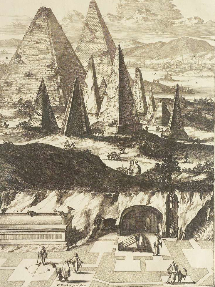 The pyramids at Giza from Athanasius Kircher's Sphinx Mystagoga (1676), one of the many, many Ægypts that have arisen throughout history