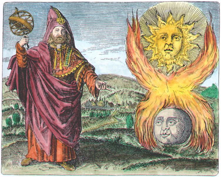 Hermes Trismegistus illustrating what's going on between the Moon and the Sun, Daniel Stolcius (Daniel Stolz von Stolzenberg) Viridarium Chymicum, 1624.