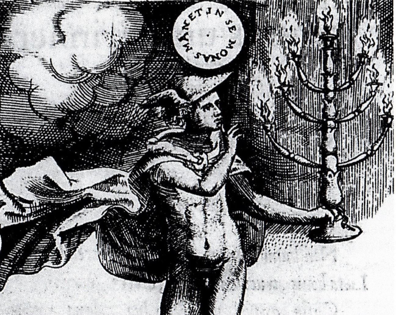 Hermes, the god of speech, urges silence. Achilles Bocchius, Symbolicarum quæstionum ... Bologna 1555