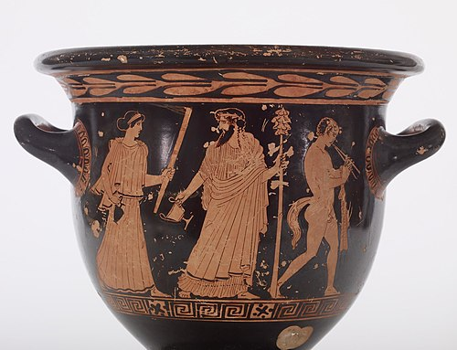 Red-figure Attic krater depicting Dionysian scenes, fifth century BCE