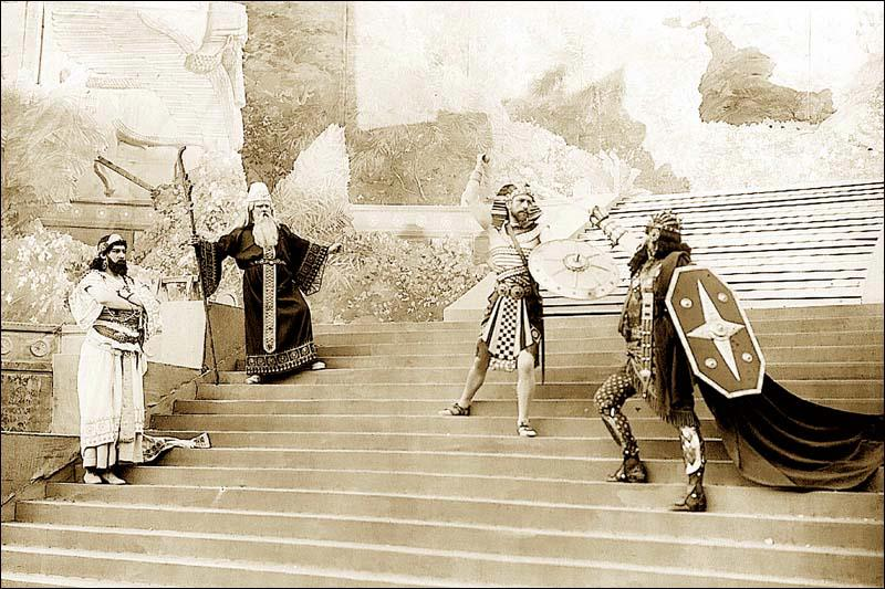 Darmont - Liser - Lambert - Dorival in a scene from Péladan's play Sémiramis.