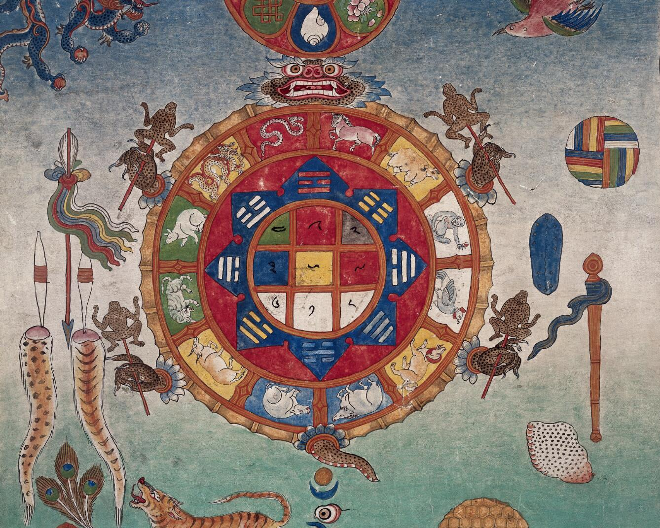 Tibetan bloodletting chart with a multicolour 3x3 wafq (sMe-ba-dgu) at its heart.