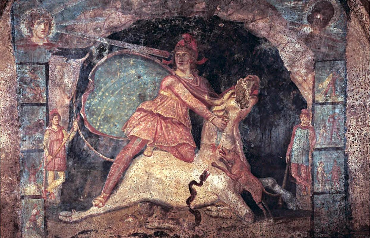 Mithras with his starry cloak, fresco, Mithræum of Marino, c. 200 CE.