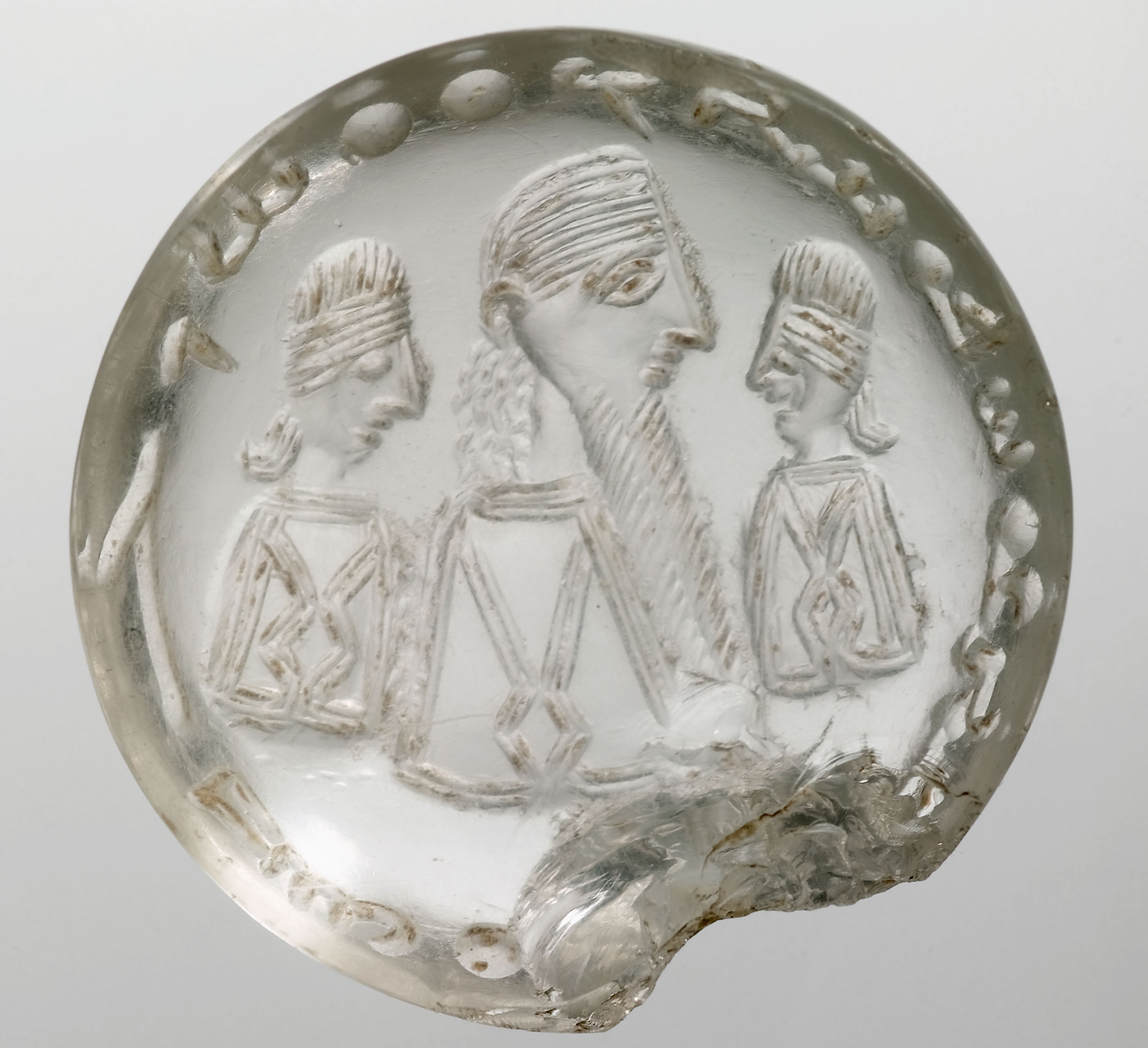 """'The Crystal Seal of Mani' (possibly 3rd cent. CE). The Syriac text reads: """"Mani, the Apostle of Jesus Christ"""". Bibliothèque nationale de France"""