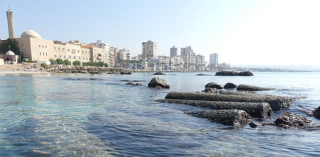 Tyre, Lebanon, nowadays in the background with a bit of Tyre, thenadays, in the foreground